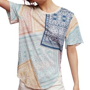 Postmark [Anthro] Multicolor Patchwork Tee Size M